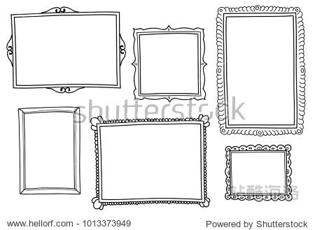 Set of hand-drawn vector frames.