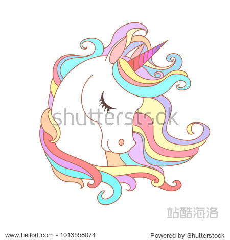 White Unicorn vector illustration for children design. Rainbow hair. Isolated. Cute fantasy animal.