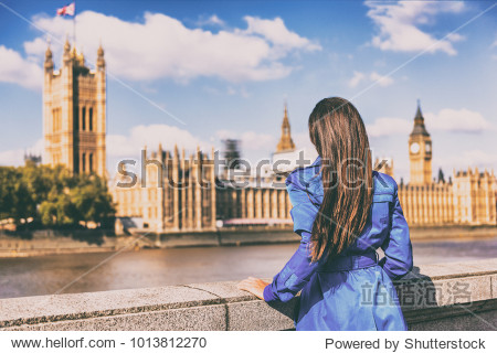 London Europe city autumn travel urban tourist woman in blue coat looking at Westminster and Thames river  famous tourism attraction landmark. Autumn season traveller people lifestyle. Wanderlust.
