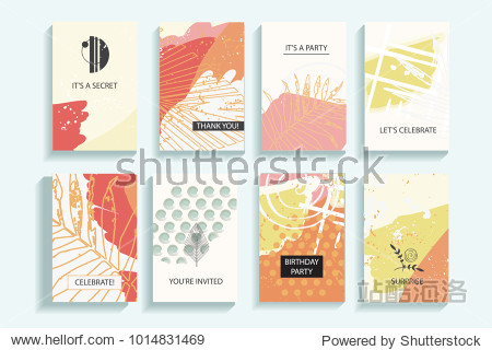 Collection of autumn universal trendy cards. Hand Drawn textures. Modern Graphic Design for banner  poster  card  cover  invitation  brochure  flyer. Vector isolated illustration.