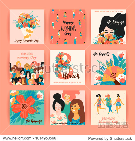 International Women's Day. Vector templates for card  poster  flyer and other users