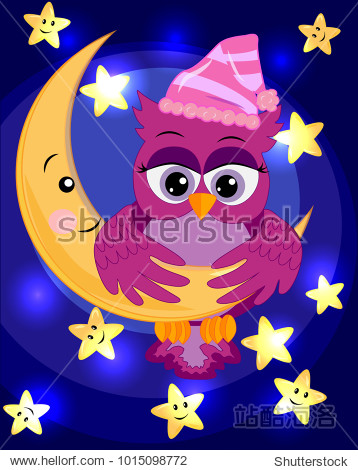 bright  cartoon  beautiful pink owl-girl with beautiful eyes keeps wings for a month among the stars.