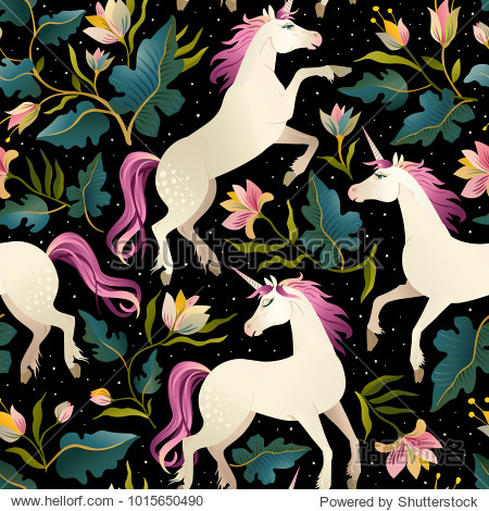 Unicorns on a dark background with a fairy forest. Seamless pattern.