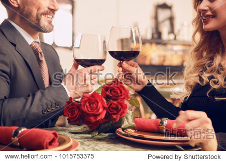 Romantic date. A couple in a restaurant.