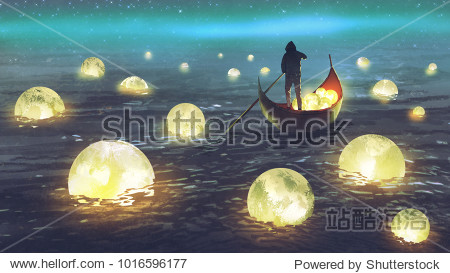 night scenery of a man rowing a boat among many glowing moons floating on the sea  digital art style  illustration painting