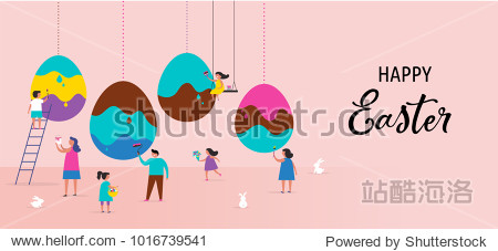 Happy Easter scene with families  kids. Easter street event  festival and fair  banner  poster design