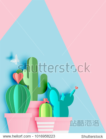 Cactus in paper art style or digital craft vector illustration