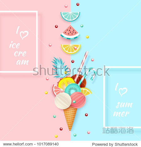 Ice cream  Fruit  3D  Pastel. Abstract background with ice cream cone  lime  lemon  orange  kiwi and watermelon in paper cut style. Minimalist pastel summer food concept. Vector illustration