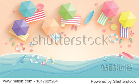 top view beach background with umbrellas balls swim ring sunglasses surfboard  hat sandals juice starfish and sea. aerial view of summer beach in paper craft style.paper cut and craft style. vector.