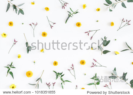 Flowers composition. Round frame made of yellow and pink flowers  eucalyptus branches on white background. Flat lay  top view  copy space.