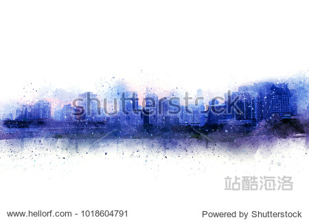 Abstract Building on watercolor painting background. City on Digital illustration brush to art.