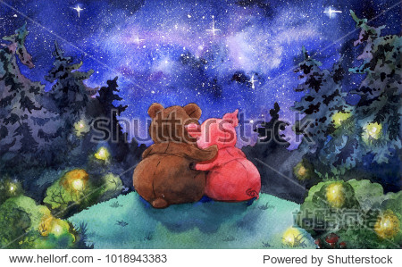 Watercolor illustration. Friends watching the Stars in deep forest at night. Fairytale mystery cartoon art  a Bear and a Pig hugs.