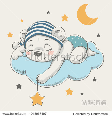 Cute dreaming bear cartoon hand drawn vector illustration. Can be used for t-shirt print  kids wear fashion design  baby shower invitation card.