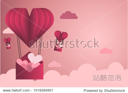 Valentine background illustrator design concept. Heart balloon carrying letter of hearts in the pink sky with cloud. Can be used on banners or web. 3D paper style. Space for text.