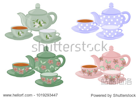 Teapots and cups with different patterns. Vector set of isolated teapots  cups of tea and empty cups.