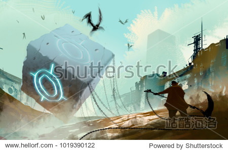 Digital illustration art painting style warrior readying to attack many fly monsters by huge weapon  the stone cube and chained is in abandoned city  sci-fi story  risk and fighting concept.