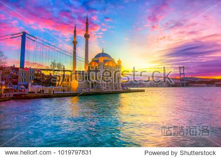 Ortakoy Istanbul landscape beautiful sunrise with clouds Ortakoy Mosque and Bosphorus Bridge  Istanbul Turkey. Best touristic destination of Istanbul.