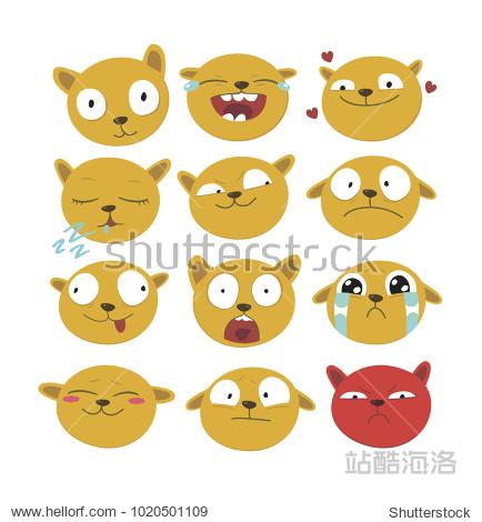 Yellow cartoon dog vector emotions set