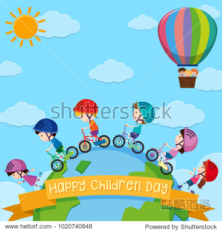 Poster design for children day with kids around the world illustration