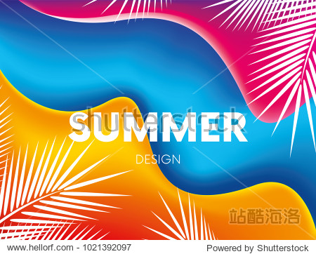 Fluid colorful shapes composition. Trendy liquid gradients. Summer  sea  ocean and palm trees. Vacation and summer vacation. Vector illustration for greeting card  banner or poster. Eps10 vector.
