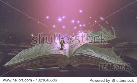 Boy standing on the opened giant book with fantasy light  digital art style  illustration painting