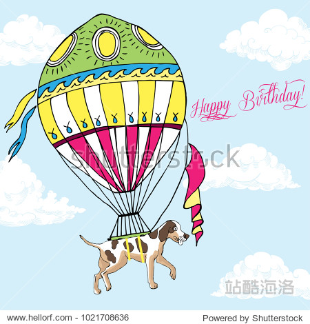 Background with dog and air balloon. Hand drawn basset hound sketch with clouds.  Illustration