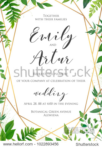 Natural botanical wedding invitation  invite  save the date template. Vector floral design card. Green fern forest plant leaves & herbs greenery mix.  Geometrical golden frame  border with copy space.