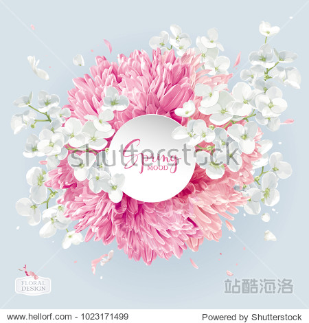 Modern floral vector  art - luxurious Chrysanthemums and Apple blossom arrangement with a round paper label in watercolor style for 8 March  wedding  Valentine's Day   Mother's Day  sales and other ev