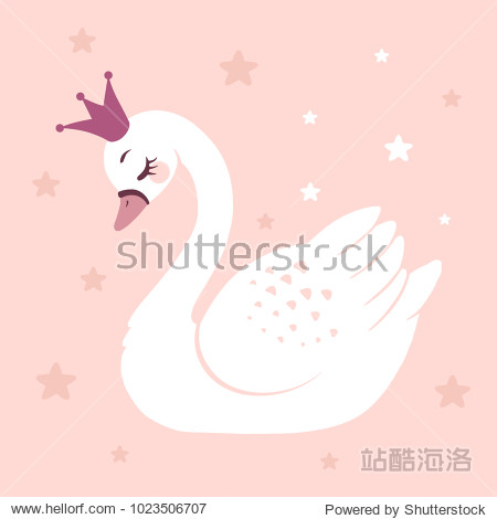Cute princess swan on pink background cartoon hand drawn vector illustration. Can be used for t-shirt print  kids wear fashion design  baby shower invitation card.