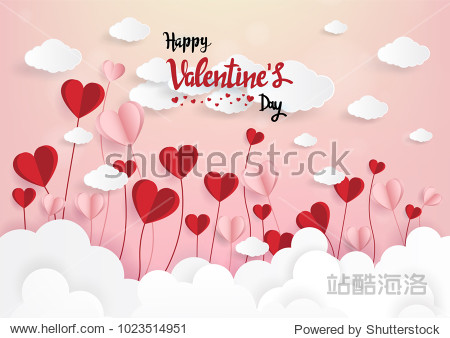 Paper art of illustration love and valentine day Origami made hot air balloon flying