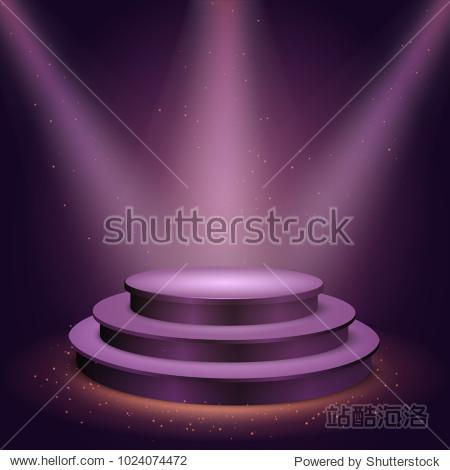 round blank podium on transparent background. Stage for awards ceremony. Pedestal. Spotlight. Vector illustration.