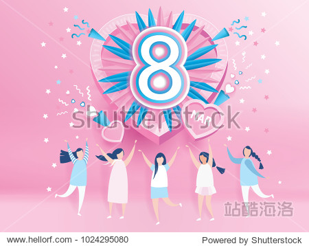 Happy women's day celebration calendar concept. design for International Women's Day 8 March holiday. and lovely joyful women on pink background. Vector illustration.paper art style.