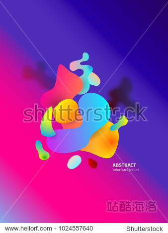 Vector liquid 3d fluid paint. Abstract water 3d background. Colorful plastic or oil shapes. Modern hipster or retro style. Digital and macro purple concept.
