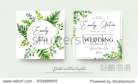 Wedding floral watercolor style double invite  invitation  save the date card design with forest greenery herbs  leaves  eucalyptus branches  fern fronds. Vector natural  botanical  elegant template