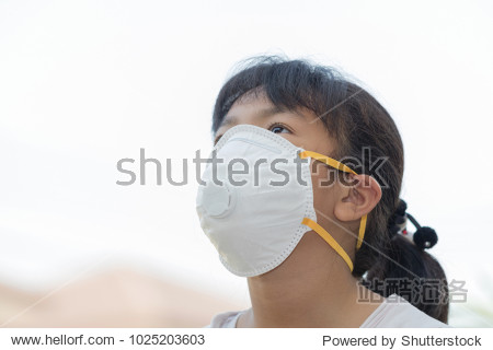 Asian short hair girl wearing a dust mask PM2.5 on natural background with concepts