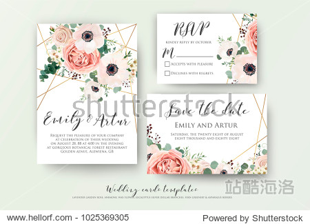 Wedding invite  invitation  rsvp  save the date card design with elegant lavender pink garden rose anemone  wax flowers eucalyptus branches leaves  cute golden geometrical pattern. Vector template set