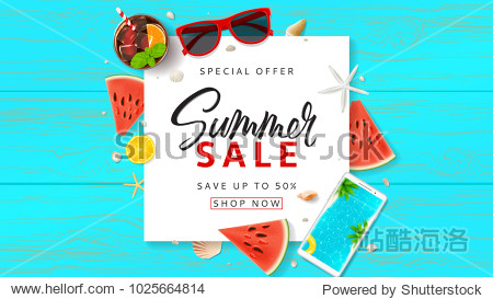Summer Sale promo web banner. Top view on sun glasses  watermelon pieces  cocktail  smartphone  orange and seashells on wooden texture. Vector illustration with spesial discount offer.
