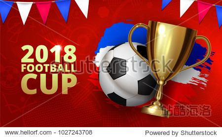Beautiful design template mock up football 2018 world championship tournament soccer league. Soccer logo football with ball and golden cup with brush ink three color flag. Vector