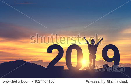 Silhouette freedom young woman Enjoying on the hill and 2019 years while celebrating new year  copy spce.