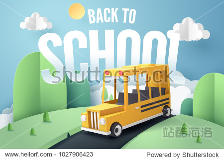Paper art of school bus running on country road  back to school concept  vector art and illustration.