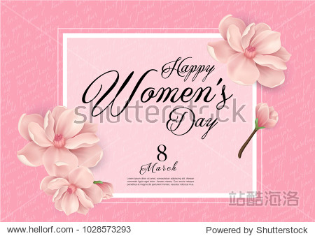 Happy Woman's Day Handwriting text as celebration. 8th March Text card invitation  template. Festivity background. Lettering typography poster. Banner on textured background. Vector illustration.