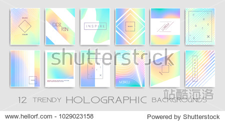 Vector trendy design with holographic colors  modern design collection. Colorful shapes  vibrant texture  hologram gradients  abstract motion for banners  covers  posters  patterns  templates ...