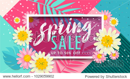 Spring Sale Banner. Paper cut Floral card. Spring blossom. Happy Women's Day. 8 March. Text. Seasonal holiday. Spring Sale Poster  voucher discount. Memphis style spring summer flyer easy editable.