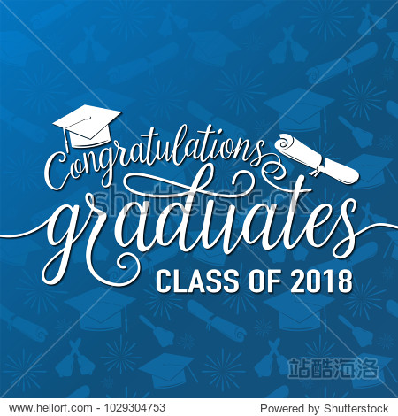 Vector illustration on seamless graduations background congratulations graduates 2018 class of  white sign for the graduation party. Typography greeting  invitation card with diplomas  hat  lettering