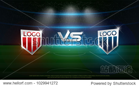 soccer scoreboard stadium background team A vs team B strategy broadcast graphic template  football score for web  poster  banner. vector illustration