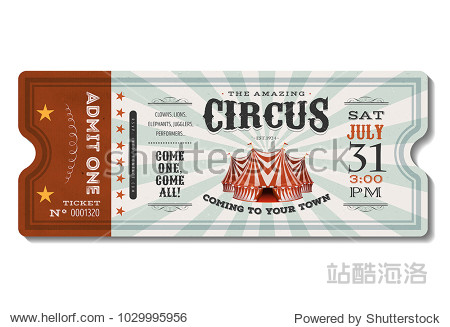 Vintage Circus Ticket/ Illustration of a vintage and retro design circus ticket, with big top, admit one coupon mention, code and text elements for arts festival and events