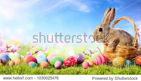 Little Bunny In Basket With Decorated Eggs - Easter Card