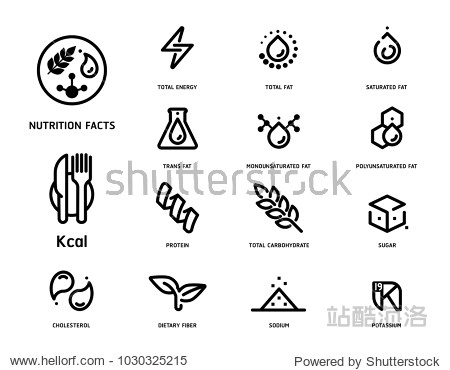 Nutrition facts icon concept clean minimal style set version 2. Flat line symbols of nutrients are common in food products collection.
