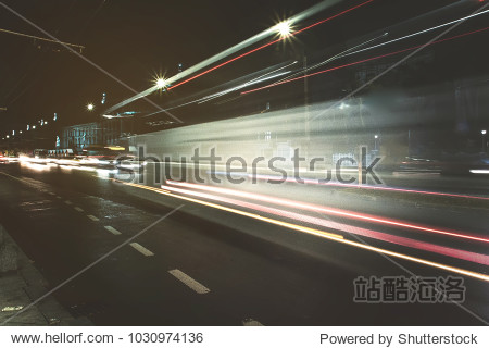 Blurred motion long exposure lines light of car headlamps headlights  soft focus . Unfocused   speed and fast cars concept in city. Traffic jam  public transport image copy space background.