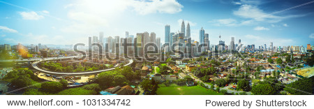 Panorama cityscape view in the middle of Kuala Lumpur city center  day time   Malaysia .